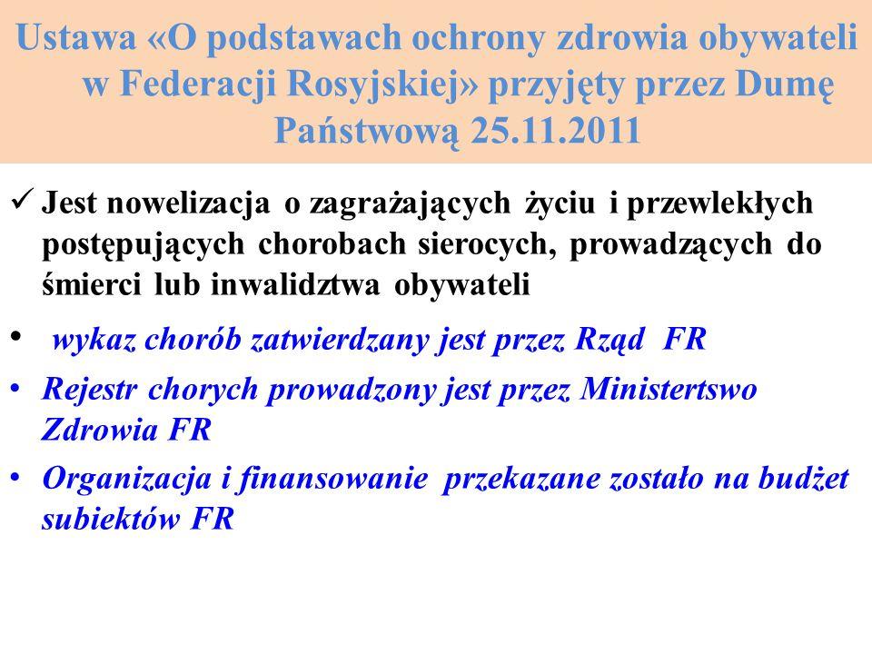 Ustawa «O podstawach ochrony zdrowia obywateli w Federacji Rosyjskiej» przyjęty przez Dumę Państwową 25.11.2011 Jest nowelizacja o zagrażających życiu