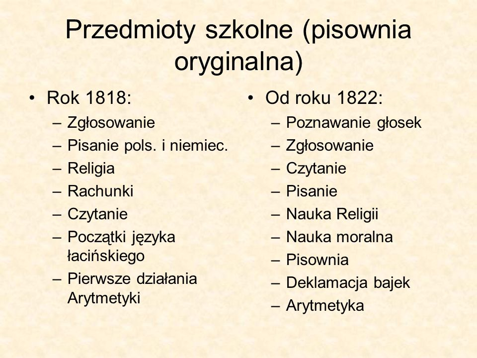 Przedmioty szkolne (pisownia oryginalna) Rok 1818: –Zgłosowanie –Pisanie pols. i niemiec. –Religia –Rachunki –Czytanie –Początki języka łacińskiego –P