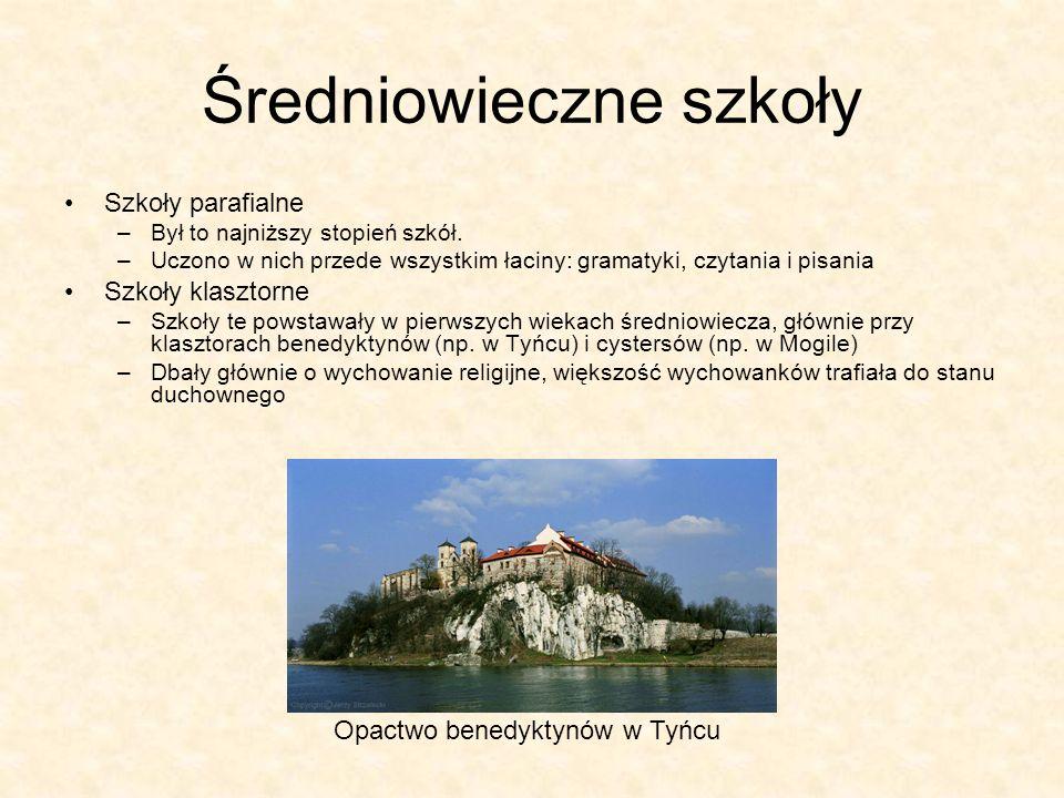 Średniowieczne szkoły Szkoły parafialne –Był to najniższy stopień szkół. –Uczono w nich przede wszystkim łaciny: gramatyki, czytania i pisania Szkoły