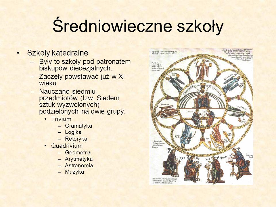 Średniowieczne szkoły Szkoły katedralne –Były to szkoły pod patronatem biskupów diecezjalnych. –Zaczęły powstawać już w XI wieku –Nauczano siedmiu prz