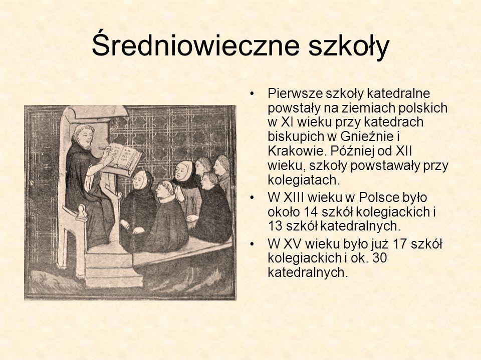 Średniowieczne szkoły Pierwsze szkoły katedralne powstały na ziemiach polskich w XI wieku przy katedrach biskupich w Gnieźnie i Krakowie. Później od X