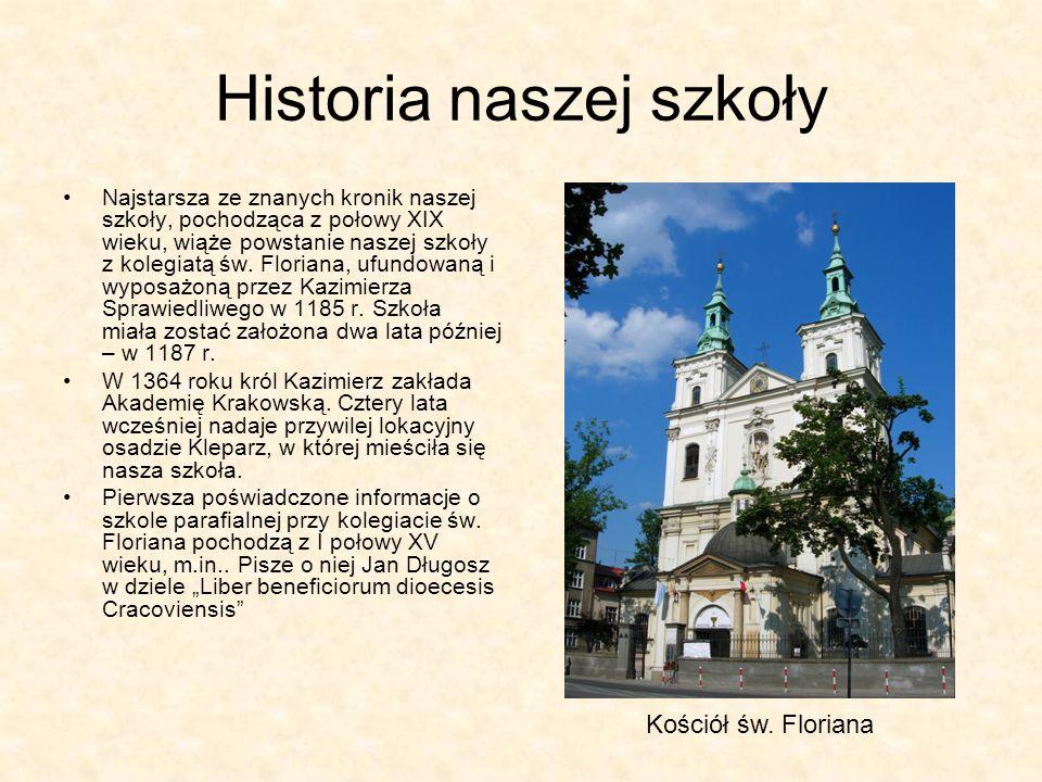 Historia naszej szkoły Najstarsza ze znanych kronik naszej szkoły, pochodząca z połowy XIX wieku, wiąże powstanie naszej szkoły z kolegiatą św. Floria