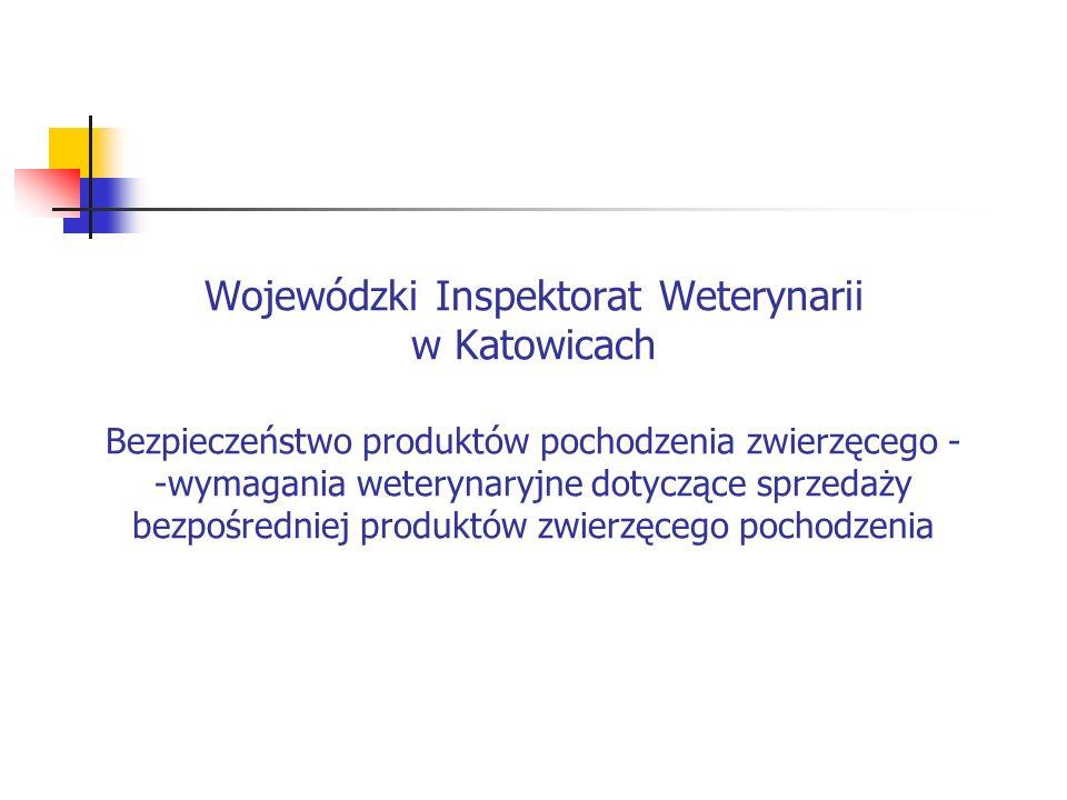 Wojewódzki Inspektorat Weterynarii w Katowicach Bezpieczeństwo produktów pochodzenia zwierzęcego - -wymagania weterynaryjne dotyczące sprzedaży bezpoś