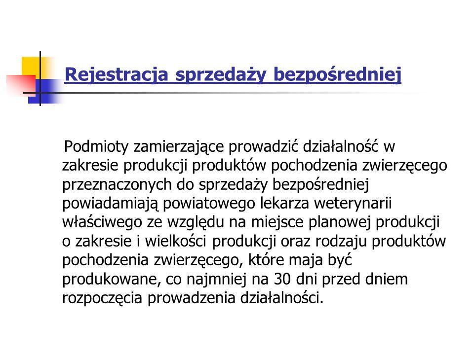 Rejestracja sprzedaży bezpośredniej Podmioty zamierzające prowadzić działalność w zakresie produkcji produktów pochodzenia zwierzęcego przeznaczonych
