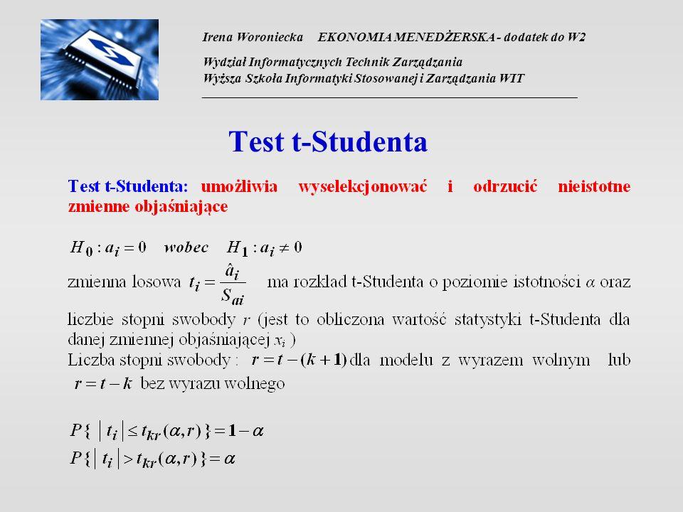 Irena Woroniecka EKONOMIA MENEDŻERSKA - dodatek do W2 Wydział Informatycznych Technik Zarządzania Wyższa Szkoła Informatyki Stosowanej i Zarządzania WIT __________________________________________________________________ Test t-Studenta