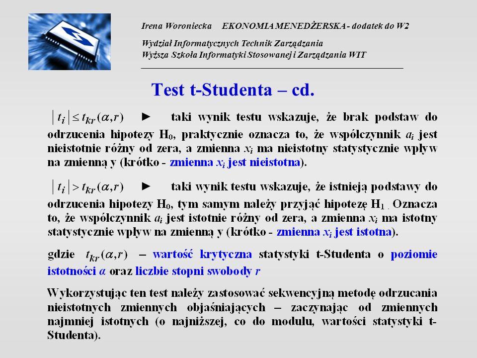 Irena Woroniecka EKONOMIA MENEDŻERSKA - dodatek do W2 Wydział Informatycznych Technik Zarządzania Wyższa Szkoła Informatyki Stosowanej i Zarządzania WIT __________________________________________________________________ Test t-Studenta – cd.