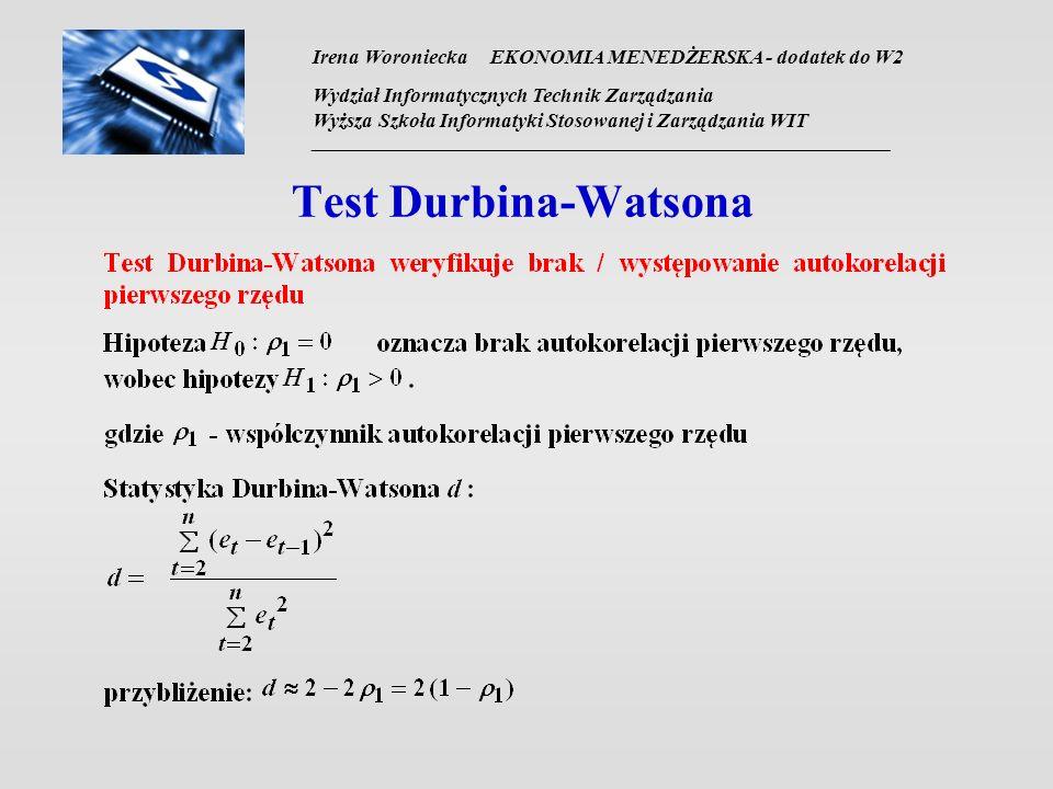 Irena Woroniecka EKONOMIA MENEDŻERSKA - dodatek do W2 Wydział Informatycznych Technik Zarządzania Wyższa Szkoła Informatyki Stosowanej i Zarządzania WIT __________________________________________________________________ Test Durbina-Watsona