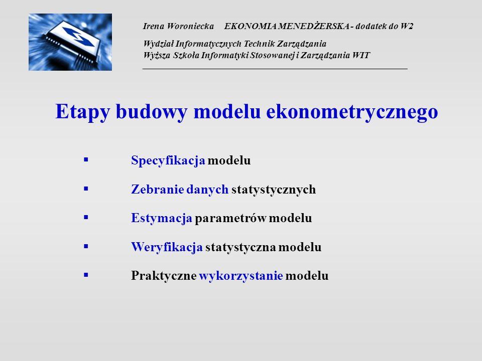 Irena Woroniecka EKONOMIA MENEDŻERSKA - dodatek do W2 Wydział Informatycznych Technik Zarządzania Wyższa Szkoła Informatyki Stosowanej i Zarządzania WIT __________________________________________________________________ Etapy budowy modelu ekonometrycznego Specyfikacja modelu Zebranie danych statystycznych Estymacja parametrów modelu Weryfikacja statystyczna modelu Praktyczne wykorzystanie modelu
