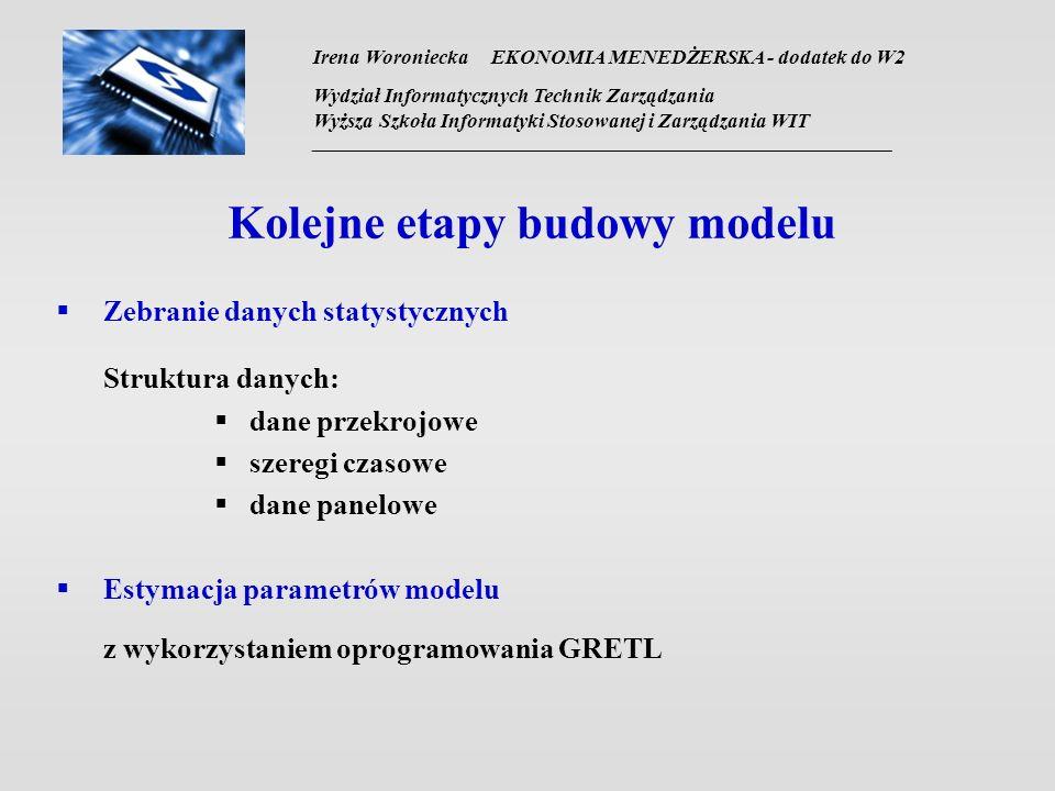 Irena Woroniecka EKONOMIA MENEDŻERSKA - dodatek do W2 Wydział Informatycznych Technik Zarządzania Wyższa Szkoła Informatyki Stosowanej i Zarządzania WIT __________________________________________________________________ Kolejne etapy budowy modelu Zebranie danych statystycznych Struktura danych: dane przekrojowe szeregi czasowe dane panelowe Estymacja parametrów modelu z wykorzystaniem oprogramowania GRETL