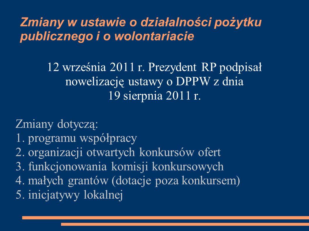 Zmiany w ustawie o działalności pożytku publicznego i o wolontariacie 12 września 2011 r. Prezydent RP podpisał nowelizację ustawy o DPPW z dnia 19 si