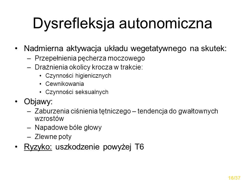 Dysrefleksja autonomiczna Nadmierna aktywacja układu wegetatywnego na skutek: –Przepełnienia pęcherza moczowego –Drażnienia okolicy krocza w trakcie: