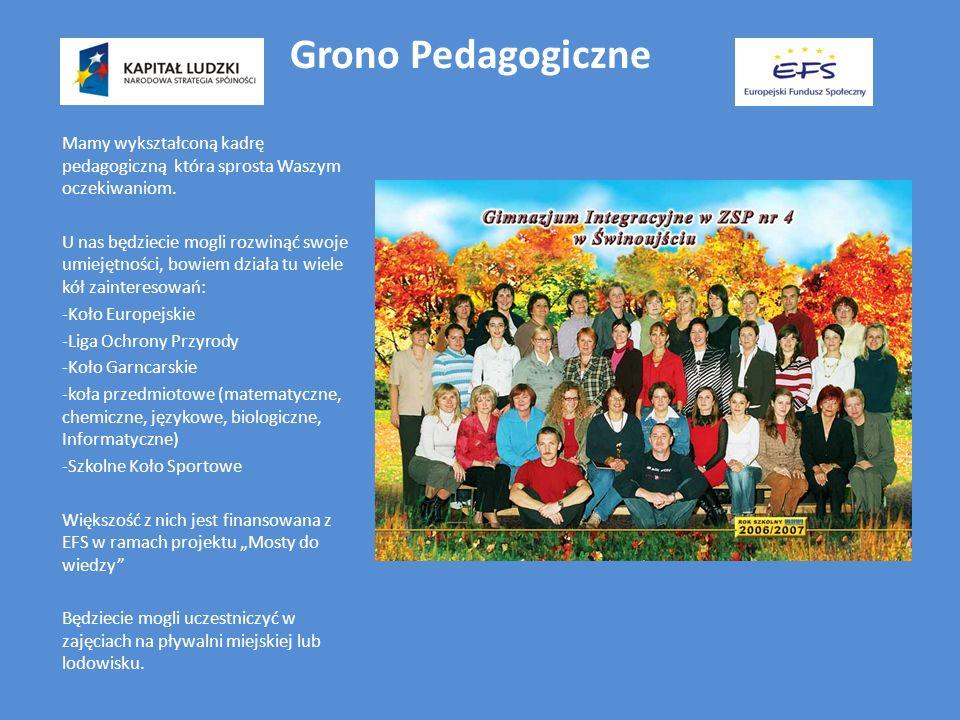 Grono Pedagogiczne Mamy wykształconą kadrę pedagogiczną która sprosta Waszym oczekiwaniom. U nas będziecie mogli rozwinąć swoje umiejętności, bowiem d