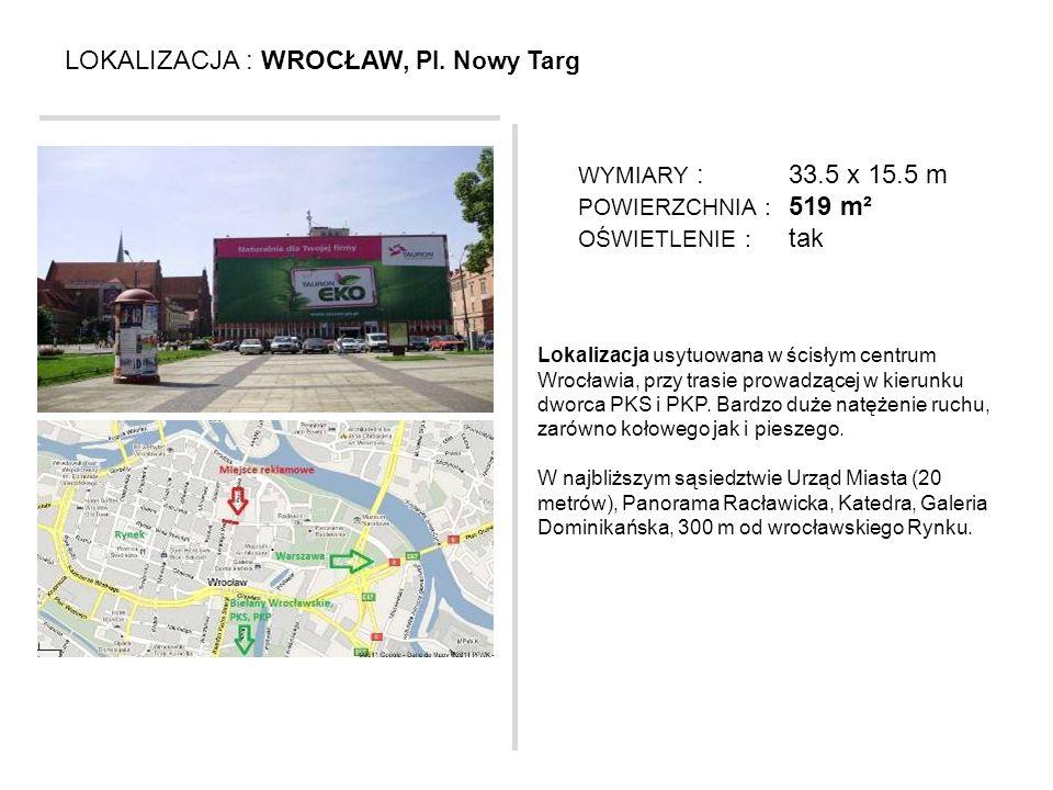 LOKALIZACJA : WROCŁAW, Pl. Nowy Targ Lokalizacja usytuowana w ścisłym centrum Wrocławia, przy trasie prowadzącej w kierunku dworca PKS i PKP. Bardzo d