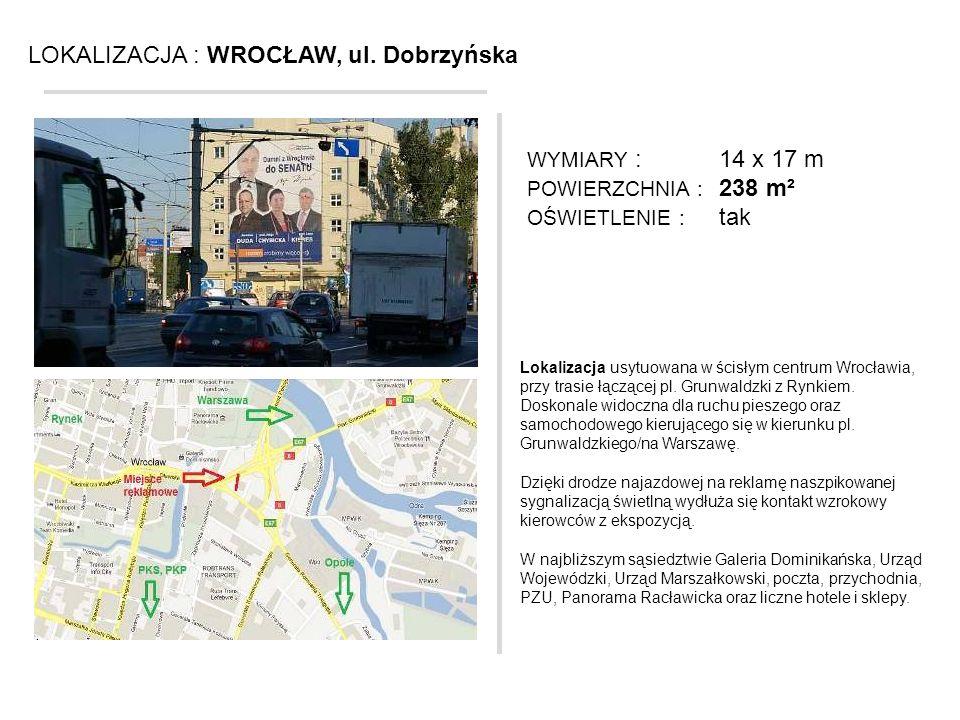 LOKALIZACJA : WROCŁAW, ul. Dobrzyńska Lokalizacja usytuowana w ścisłym centrum Wrocławia, przy trasie łączącej pl. Grunwaldzki z Rynkiem. Doskonale wi