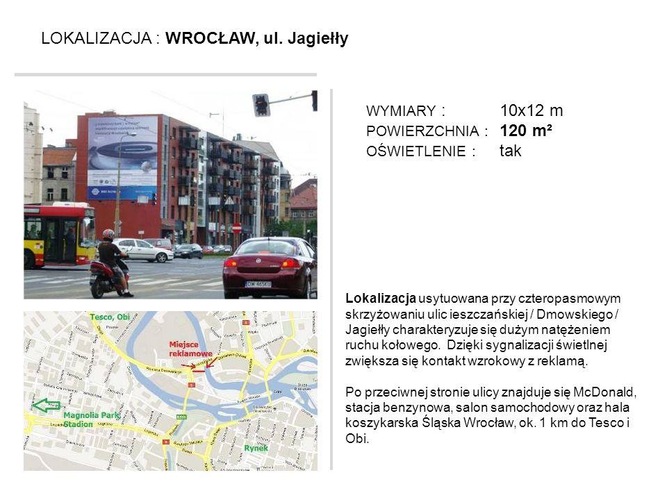 LOKALIZACJA : WROCŁAW, ul. Jagiełły Lokalizacja usytuowana przy czteropasmowym skrzyżowaniu ulic ieszczańskiej / Dmowskiego / Jagiełły charakteryzuje