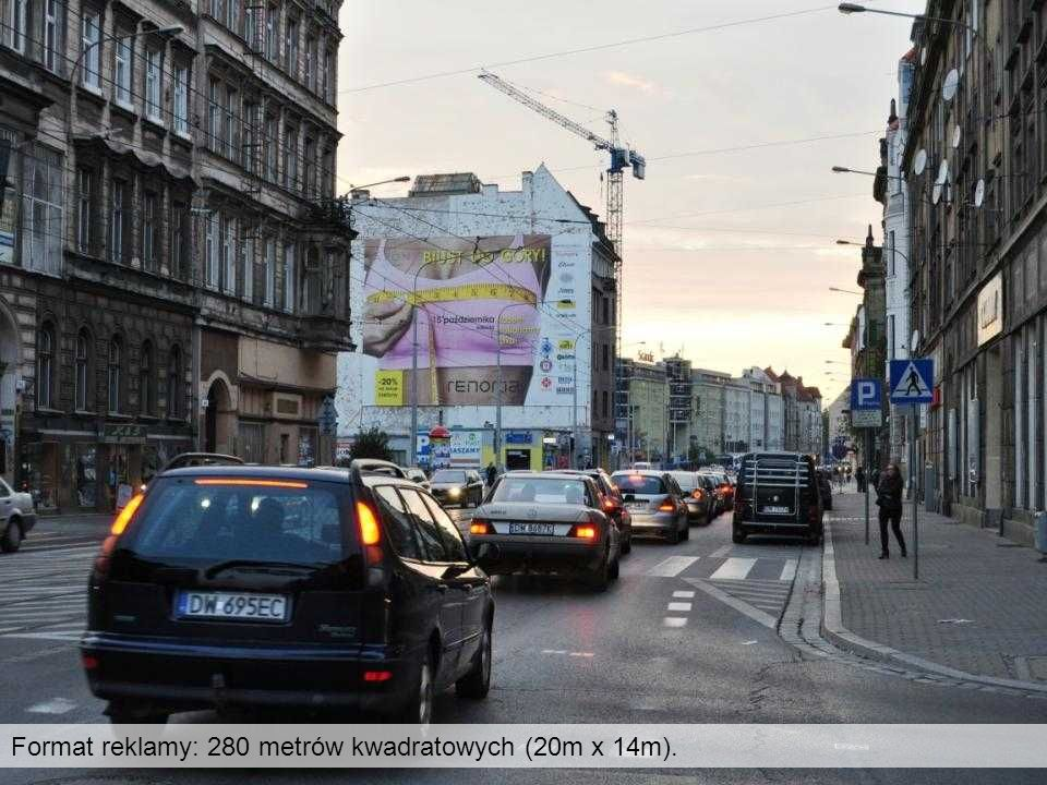 Format reklamy: 280 metrów kwadratowych (20m x 14m).