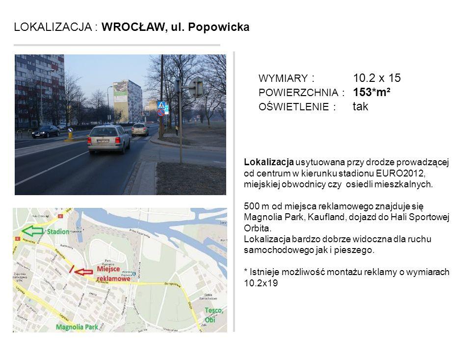 LOKALIZACJA : WROCŁAW, ul. Popowicka Lokalizacja usytuowana przy drodze prowadzącej od centrum w kierunku stadionu EURO2012, miejskiej obwodnicy czy o