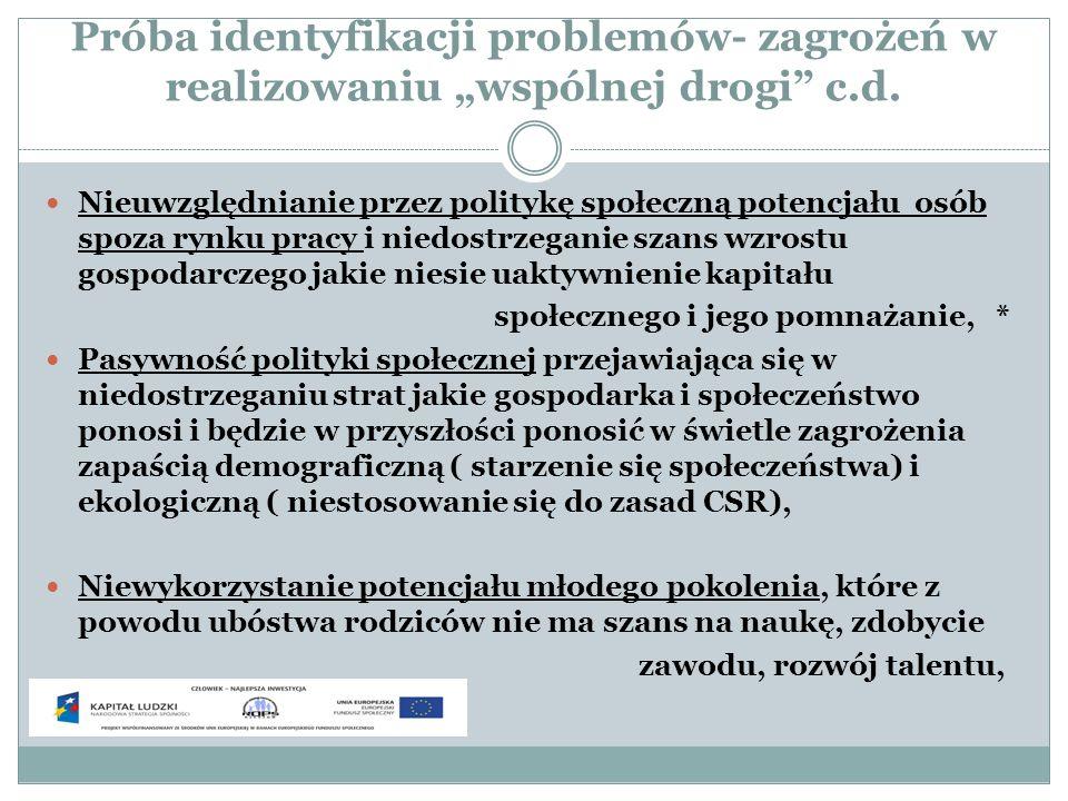 Próba identyfikacji problemów- zagrożeń w realizowaniu wspólnej drogi c.d. Nieuwzględnianie przez politykę społeczną potencjału osób spoza rynku pracy