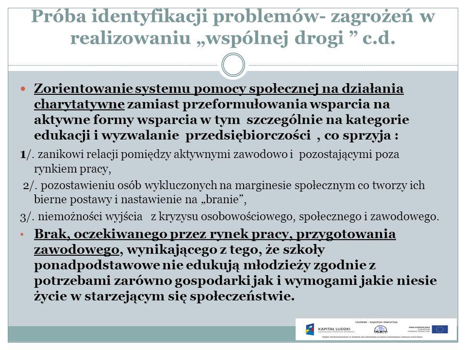 Próba identyfikacji problemów- zagrożeń w realizowaniu wspólnej drogi c.d. Zorientowanie systemu pomocy społecznej na działania charytatywne zamiast p