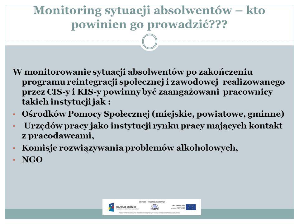 Monitoring sytuacji absolwentów – kto powinien go prowadzić??? W monitorowanie sytuacji absolwentów po zakończeniu programu reintegracji społecznej i