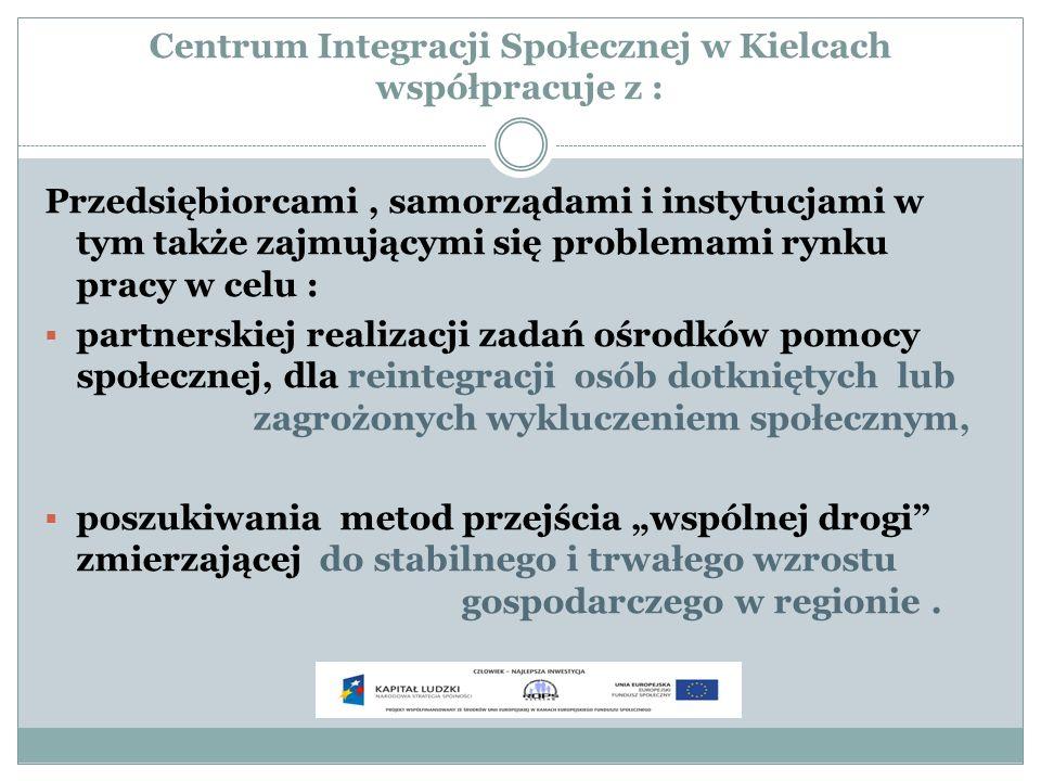 Centrum Integracji Społecznej w Kielcach współpracuje z : Przedsiębiorcami, samorządami i instytucjami w tym także zajmującymi się problemami rynku pr