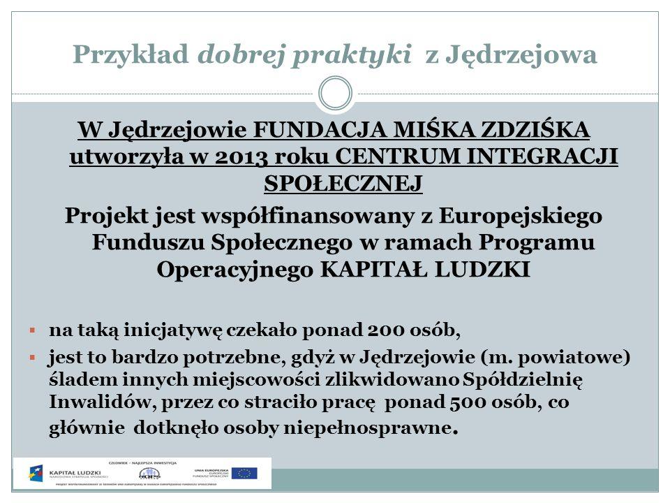 Przykład dobrej praktyki z Jędrzejowa W Jędrzejowie FUNDACJA MIŚKA ZDZIŚKA utworzyła w 2013 roku CENTRUM INTEGRACJI SPOŁECZNEJ Projekt jest współfinan