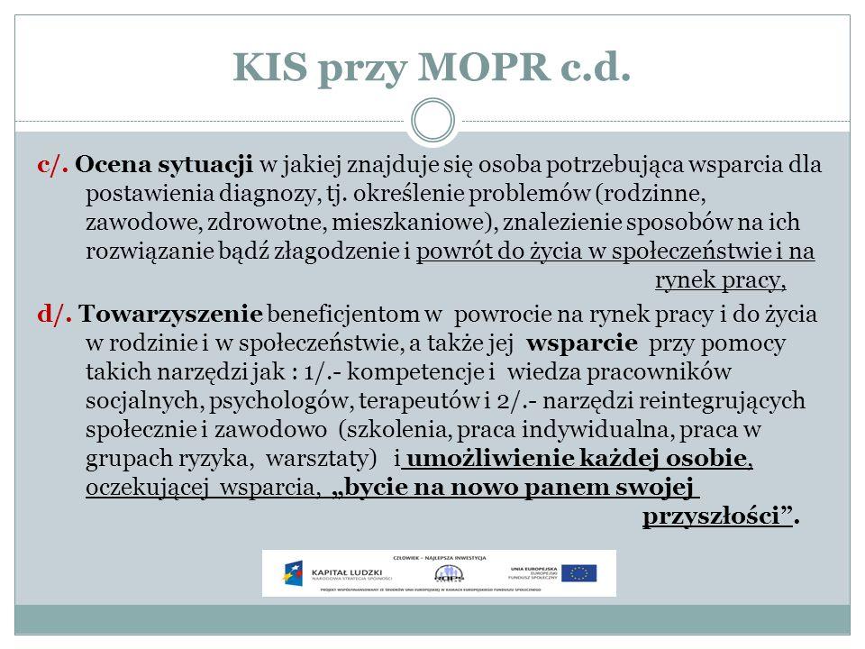KIS przy MOPR c.d. c/. Ocena sytuacji w jakiej znajduje się osoba potrzebująca wsparcia dla postawienia diagnozy, tj. określenie problemów (rodzinne,