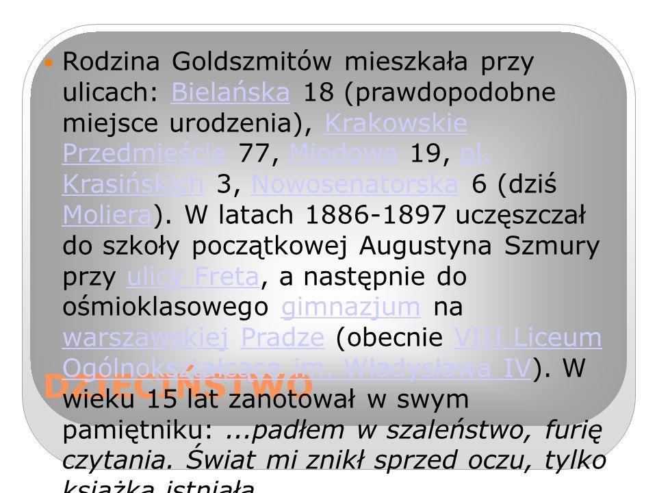 DZIECIŃSTWO Rodzina Goldszmitów mieszkała przy ulicach: Bielańska 18 (prawdopodobne miejsce urodzenia), Krakowskie Przedmieście 77, Miodowa 19, pl.