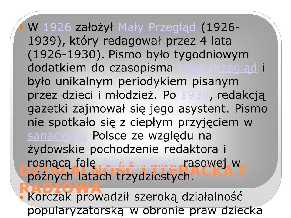 DZIAŁALNOŚĆ LITERACKA I RADIOWA W 1926 założył Mały Przegląd (1926- 1939), który redagował przez 4 lata (1926-1930).