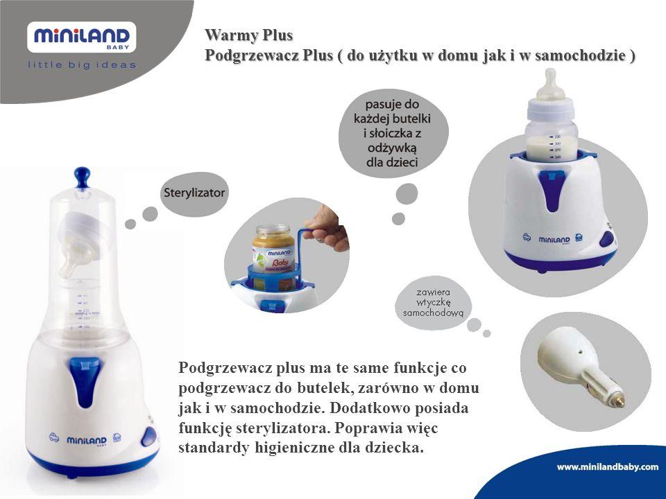 Podgrzewacz plus ma te same funkcje co podgrzewacz do butelek, zarówno w domu jak i w samochodzie. Dodatkowo posiada funkcję sterylizatora. Poprawia w