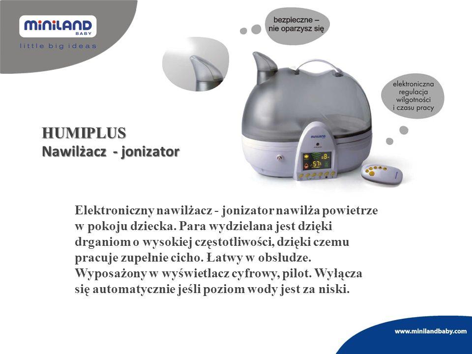 HUMIPLUS Nawilżacz - jonizator Elektroniczny nawilżacz - jonizator nawilża powietrze w pokoju dziecka. Para wydzielana jest dzięki drganiom o wysokiej