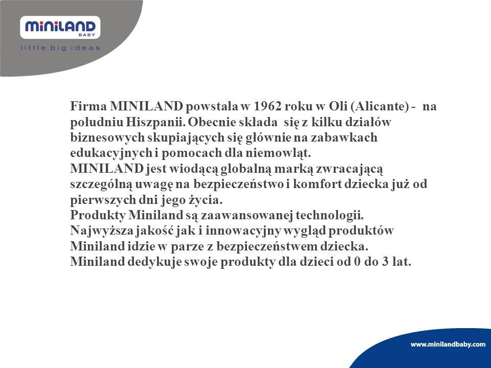 Firma MINILAND powstała w 1962 roku w Oli (Alicante) - na południu Hiszpanii. Obecnie składa się z kilku działów biznesowych skupiających się głównie