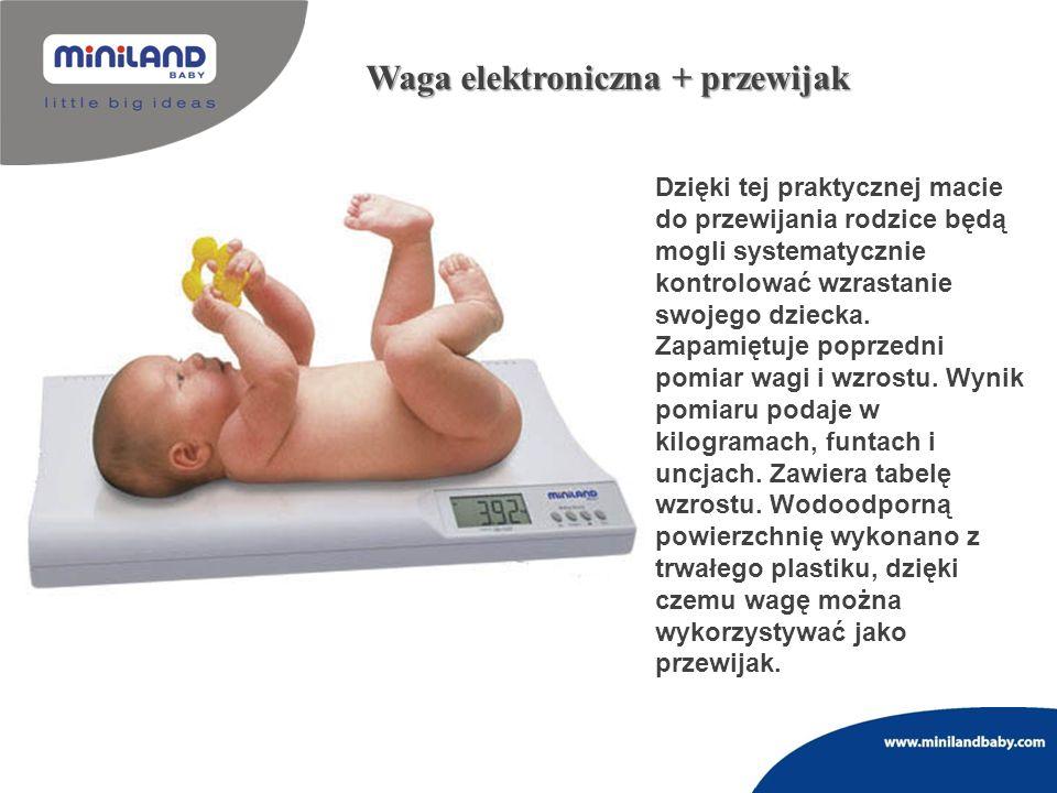 Waga elektroniczna + przewijak Dzięki tej praktycznej macie do przewijania rodzice będą mogli systematycznie kontrolować wzrastanie swojego dziecka. Z