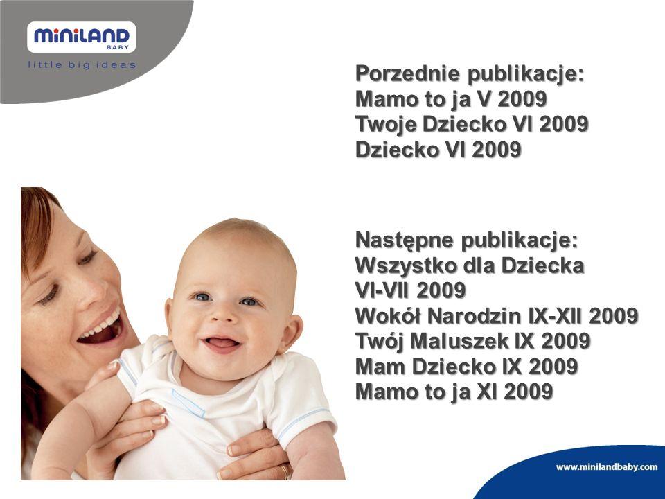Następne publikacje: Wszystko dla Dziecka VI-VII 2009 Wokół Narodzin IX-XII 2009 Twój Maluszek IX 2009 Mam Dziecko IX 2009 Mamo to ja XI 2009 Porzedni