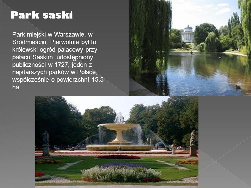 Park saski Park miejski w Warszawie, w Śródmieściu. Pierwotnie był to królewski ogród pałacowy przy pałacu Saskim, udostępniony publiczności w 1727, j