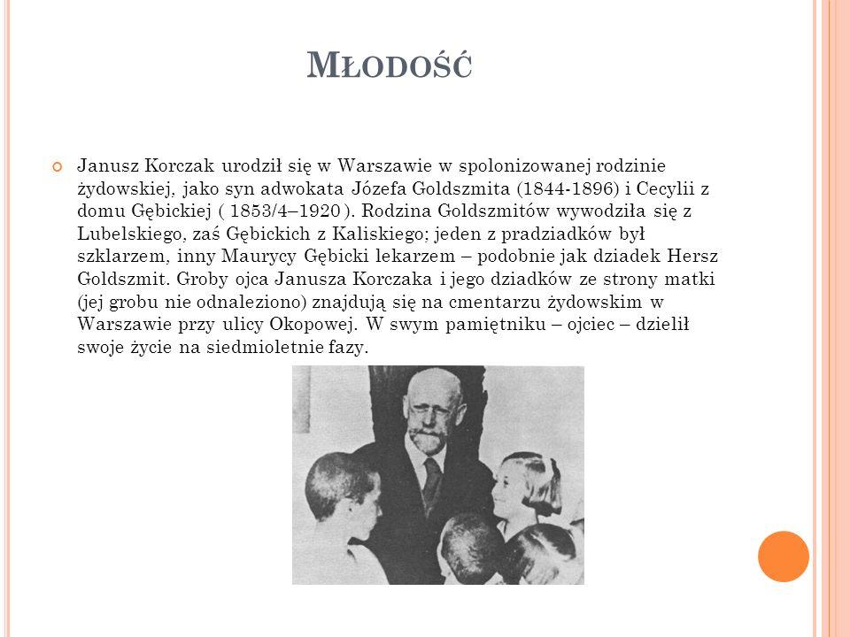 M ŁODOŚĆ Janusz Korczak urodził się w Warszawie w spolonizowanej rodzinie żydowskiej, jako syn adwokata Józefa Goldszmita (1844-1896) i Cecylii z domu