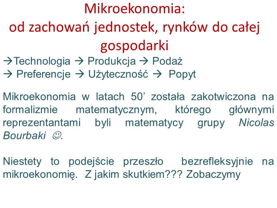 Mikroekonomia: od zachowań jednostek, rynków do całej gospodarki Technologia Produkcja Podaż Preferencje Użyteczność Popyt Mikroekonomia w latach 50 z