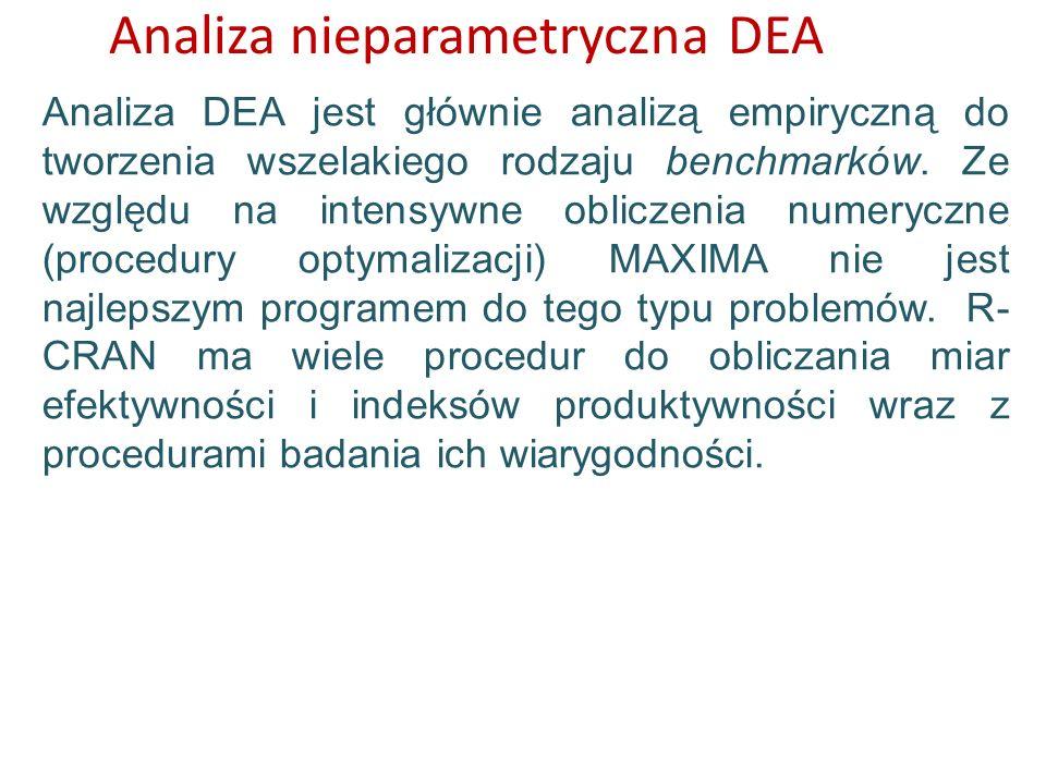Analiza nieparametryczna DEA Analiza DEA jest głównie analizą empiryczną do tworzenia wszelakiego rodzaju benchmarków. Ze względu na intensywne oblicz