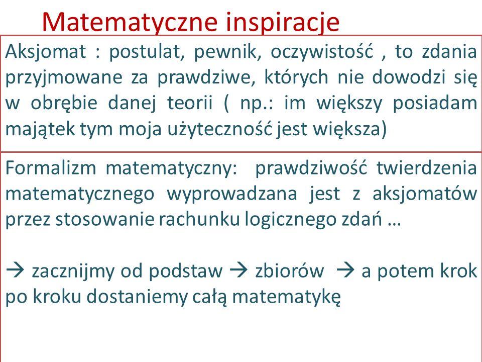 Matematyczne inspiracje Aksjomat : postulat, pewnik, oczywistość, to zdania przyjmowane za prawdziwe, których nie dowodzi się w obrębie danej teorii (
