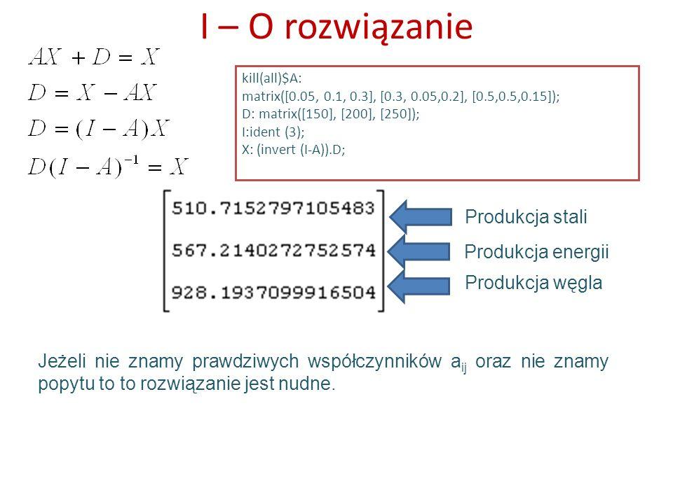 I – O rozwiązanie kill(all)$A: matrix([0.05, 0.1, 0.3], [0.3, 0.05,0.2], [0.5,0.5,0.15]); D: matrix([150], [200], [250]); I:ident (3); X: (invert (I-A