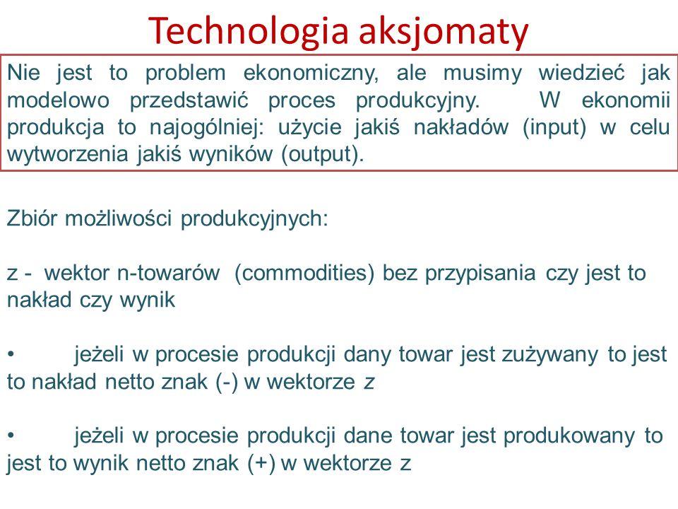 Nie jest to problem ekonomiczny, ale musimy wiedzieć jak modelowo przedstawić proces produkcyjny. W ekonomii produkcja to najogólniej: użycie jakiś na