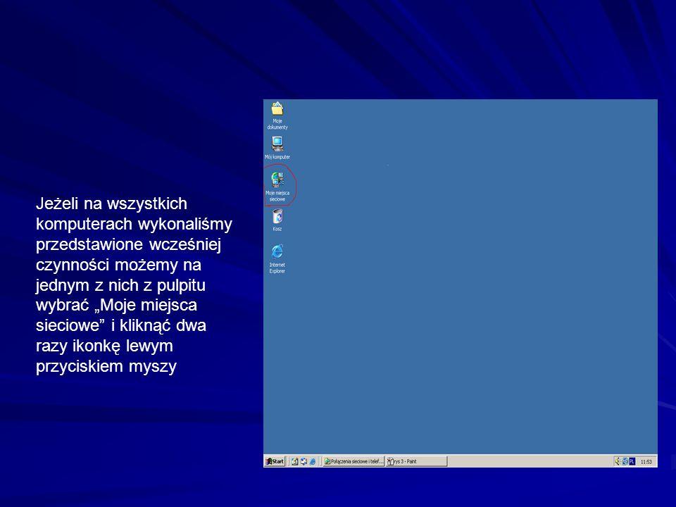 Jeżeli na wszystkich komputerach wykonaliśmy przedstawione wcześniej czynności możemy na jednym z nich z pulpitu wybrać Moje miejsca sieciowe i kliknąć dwa razy ikonkę lewym przyciskiem myszy