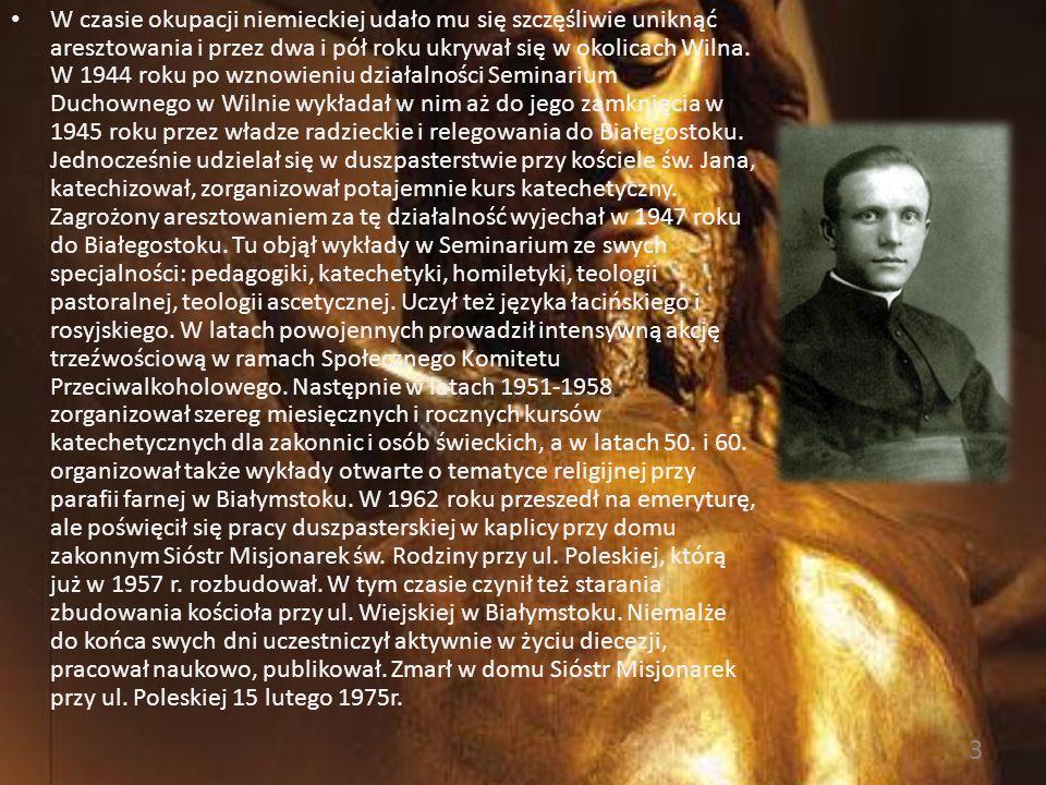 Życiorys Ksiądz Michał Sopoćko urodził się 1 listopada 1888 roku w Juszewszczyźnie (zwanej też Nowosadami) w powiecie oszmiańskim. Po ukończeniu szkoł