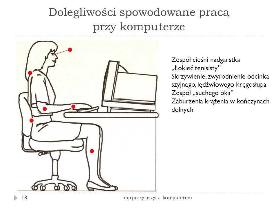 Dolegliwości spowodowane pracą przy komputerze bhp pracy przyi z komputerem18 Zespół cieśni nadgarstka Łokieć tenisisty Skrzywienie, zwyrodnienie odci