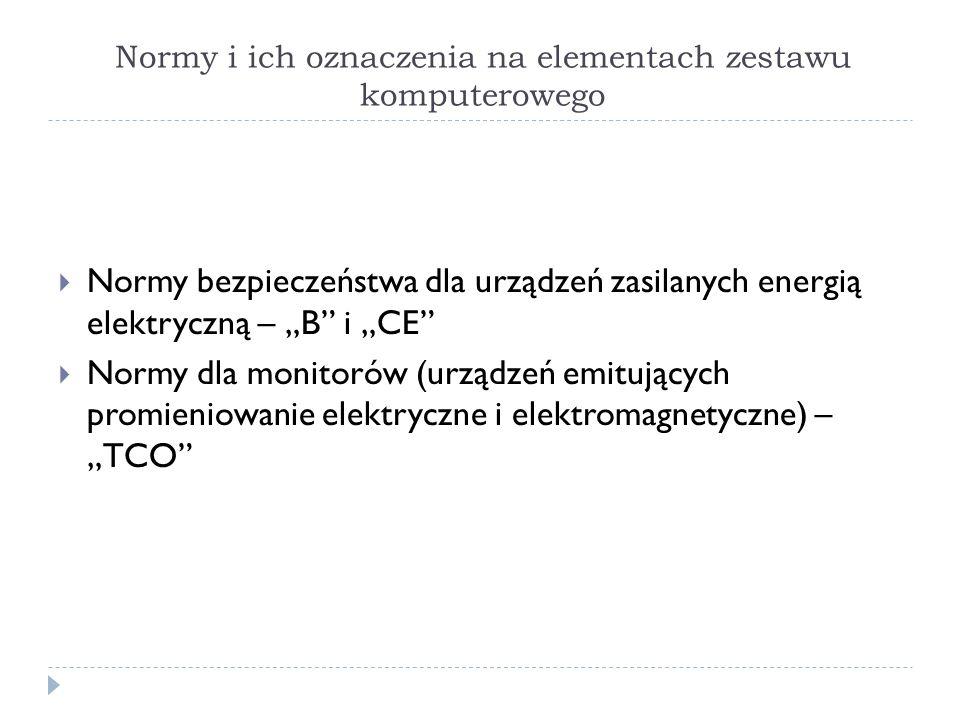 Normy i ich oznaczenia na elementach zestawu komputerowego Normy bezpieczeństwa dla urządzeń zasilanych energią elektryczną – B i CE Normy dla monitor