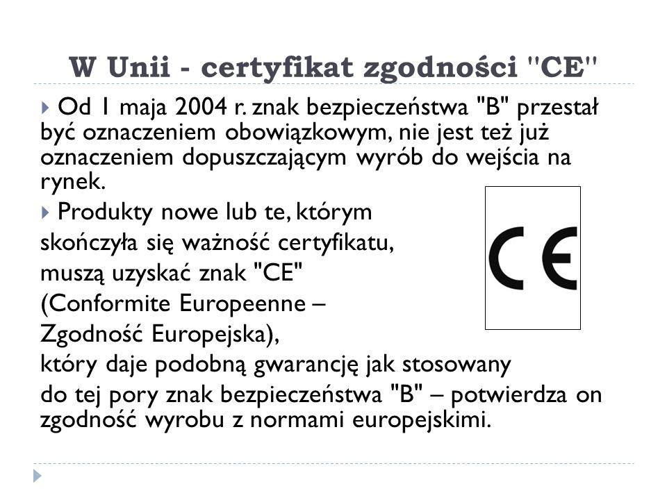 W Unii - certyfikat zgodności ''CE'' Od 1 maja 2004 r. znak bezpieczeństwa