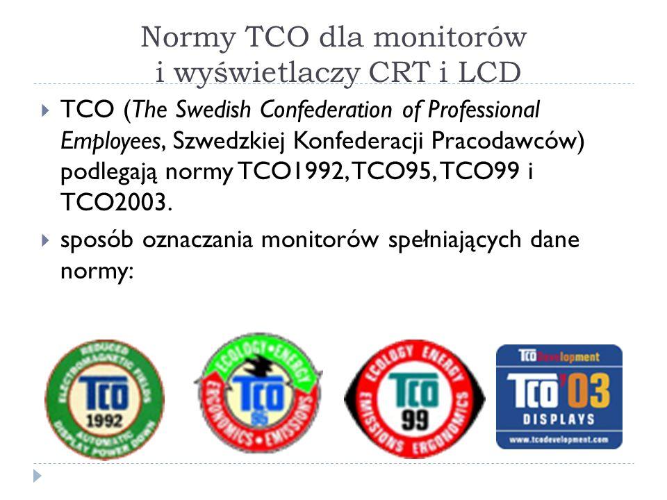Normy TCO dla monitorów i wyświetlaczy CRT i LCD TCO (The Swedish Confederation of Professional Employees, Szwedzkiej Konfederacji Pracodawców) podleg