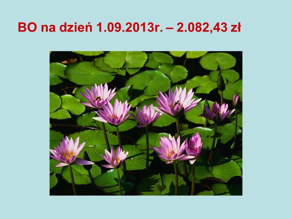 BO na dzień 1.09.2013r. – 2.082,43 zł