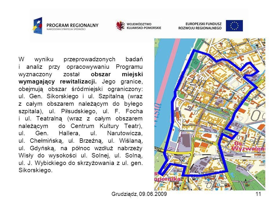 Grudziądz, 09.06.200911 W wyniku przeprowadzonych badań i analiz przy opracowywaniu Programu wyznaczony został obszar miejski wymagający rewitalizacji