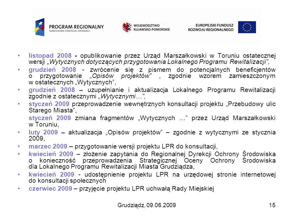 Grudziądz, 09.06.200915 listopad 2008 - opublikowanie przez Urząd Marszałkowski w Toruniu ostatecznej wersji Wytycznych dotyczących przygotowania Loka